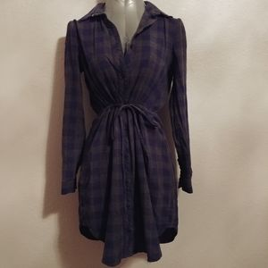 Blue and Grey Plaid Tunic Dress Dress Sz Small
